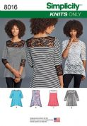 8016 Simplicity Pattern: Misses' Knit Tops with Lace Variations